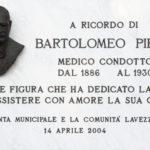 Lapide in ricordo di Bartolomeo Pirani situata nella facciata della Casa Comunale di Lavezzola