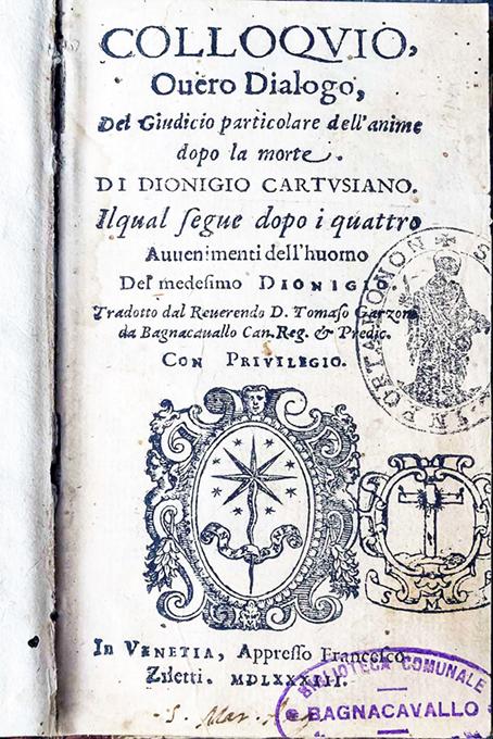 BC, Biblioteca Taroni, Sec. XVI 25354, front.