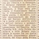 La notizia dell'attentato pubblicata su Il resto del Carlino – 4/10/1944