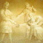 Ignaz Stern, piccole cartelle monocrome, dipinte nella parte inferiore degli ovali indicano le principali opere di carità della confraternita: distribuzione ai poveri del pane.