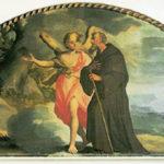 """Ignaz Stern, lunettone sopra la porta d'ingresso dove S.Pafnuzio, colui che ha scritto la """"vita"""" greca di S.Onofrio sotto forma di racconto, è guidato dall'Angelo verso l'eremo di S.Onofrio."""