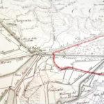 Mappa del 1825 che mostra la posizione centrale di San Biagio rispetto ai confini geografici, e la confluenza dei tre fiumi Quaderna, Sillaro e Zaniolo.