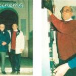 Vincenzo Gianstefani e il profesor Adelmo Bucci (col maglione rosso) nel loro cinema.